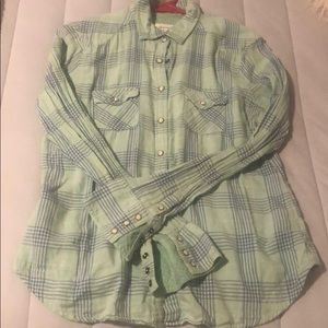 Mint green and light navy AMERICAN EAGLE flannel
